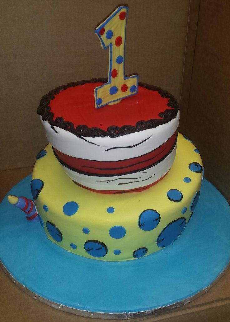 Calumet Bakery Topsy Turvy 1st birthday cake
