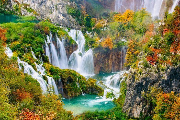 Amazing waterfalls in Plitvice National Park, Croatia.