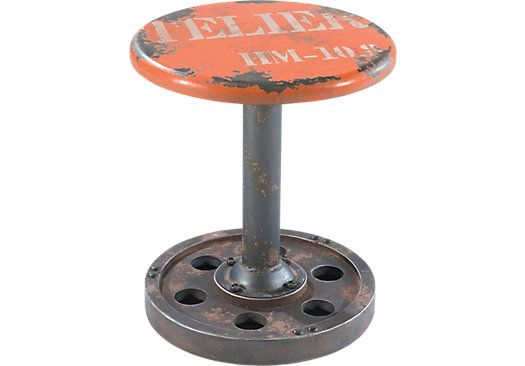 Industrie Orange Wheel Stool . $79.99. Stool 15 inch round x 17.3H. Find affordable Chairs for your home that will complement the rest of your furniture.
