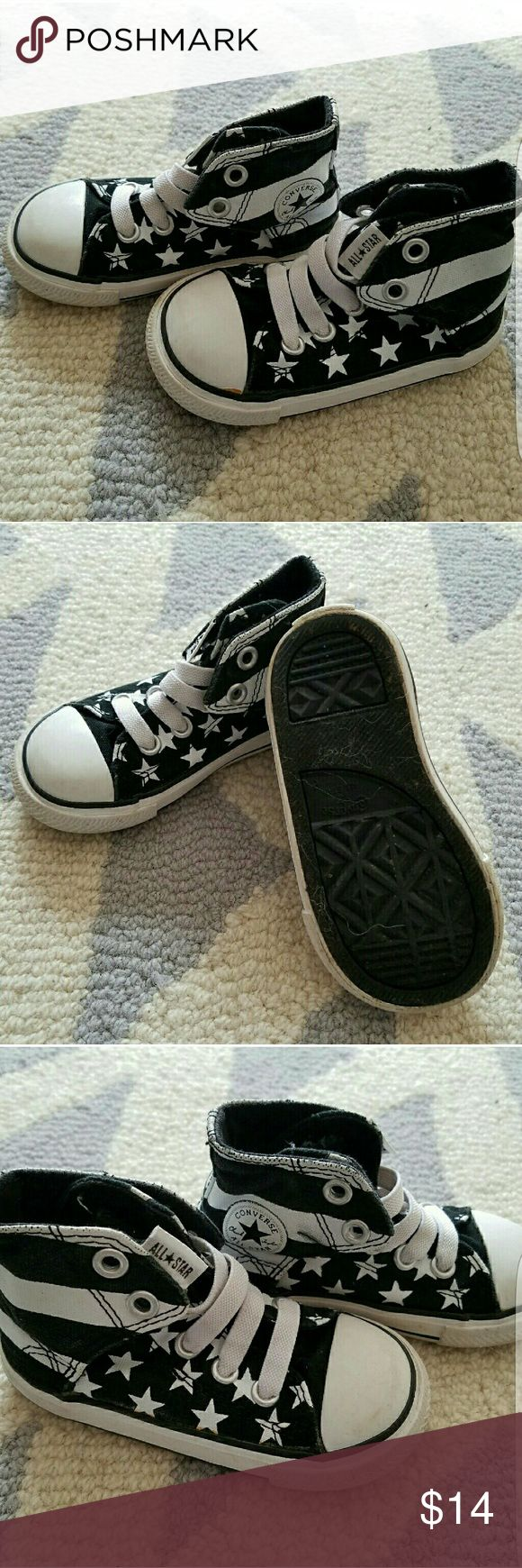 Stars and Stripes Hi-Top Converse Black and white, like new. Converse Shoes Sneakers