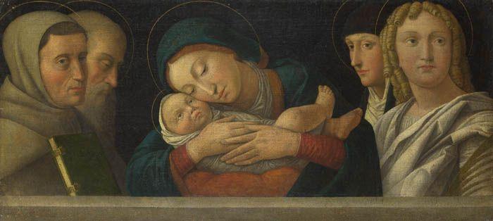 Франческо Бонсиньори Мадонна с младенцем и четырьмя святыми - arabena.  Лондонская национальная галерея, 1490-1510.