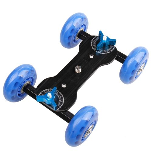 [USD8.28] [EUR7.41] [GBP5.94] DEBO First Generation Camera Truck / Floor Table Video Slider Track Dolly Car for DSLR Camera / Camcorders(Blue)