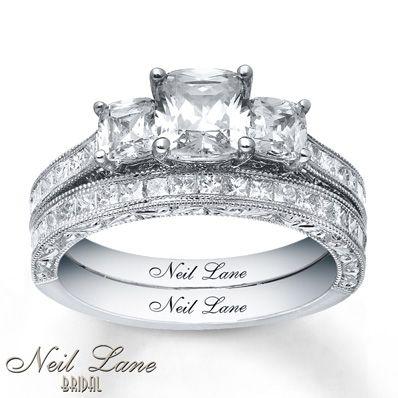 Diamond Bridal Set 2 5/8 ct tw Cushion-cut 14K White Gold