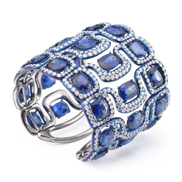 Glenn Spiro blued titanium and sapphire cuff