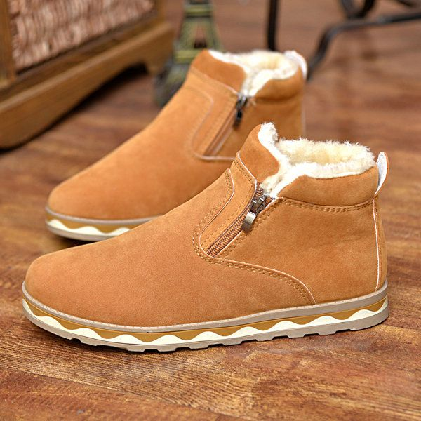 Zipper Decoration British Style Fur Lining Keep Warm High Top Boots