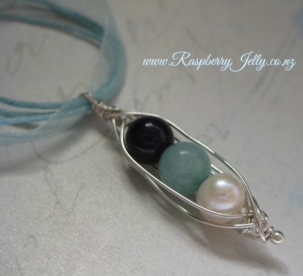 Peas in a Pod by RaspberryJelly Semi Precious Gems or Birthstone Pearls.