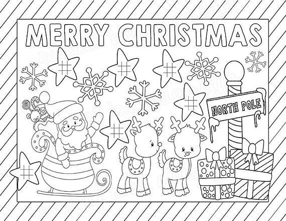 Christmas Kids Coloring Placemat, Craft, DIY, Printable ...