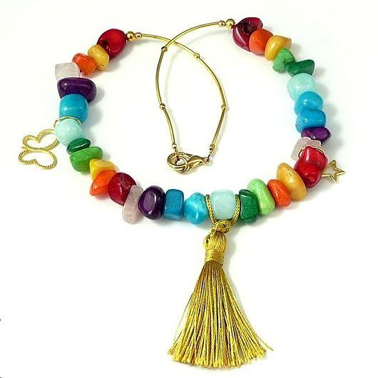 . Bajecznie kolorowy naszyjnik w stylu boho // Fabulously colorful necklace in the  boho style