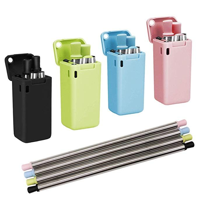 4Pcs Telescopic Metal Straw Reusable Collapsible Case Keychain Stainless Steel