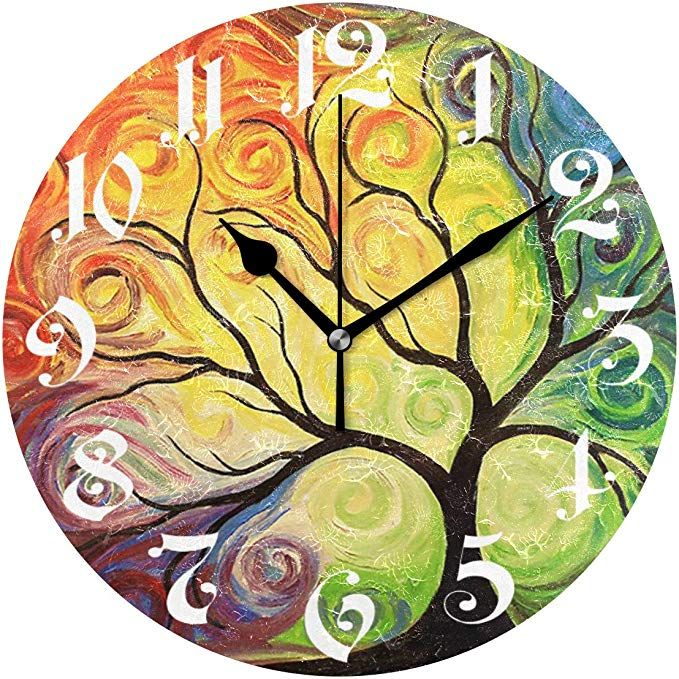 Wamika Wall Clock Tree Of Life Rainbow Branch Leaves Seasonal Flowers Round Clock Silent Non Ticking Decorative Spri Floral Clock Wall Clock Wall Clock Online