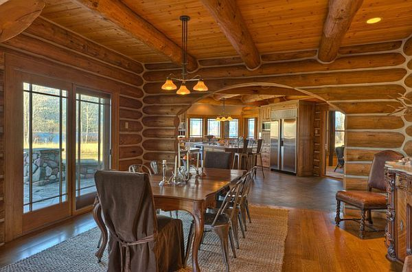 log-private-lake-house5 Five-bedroom, five-bath residence near Whitefish Lake for sale