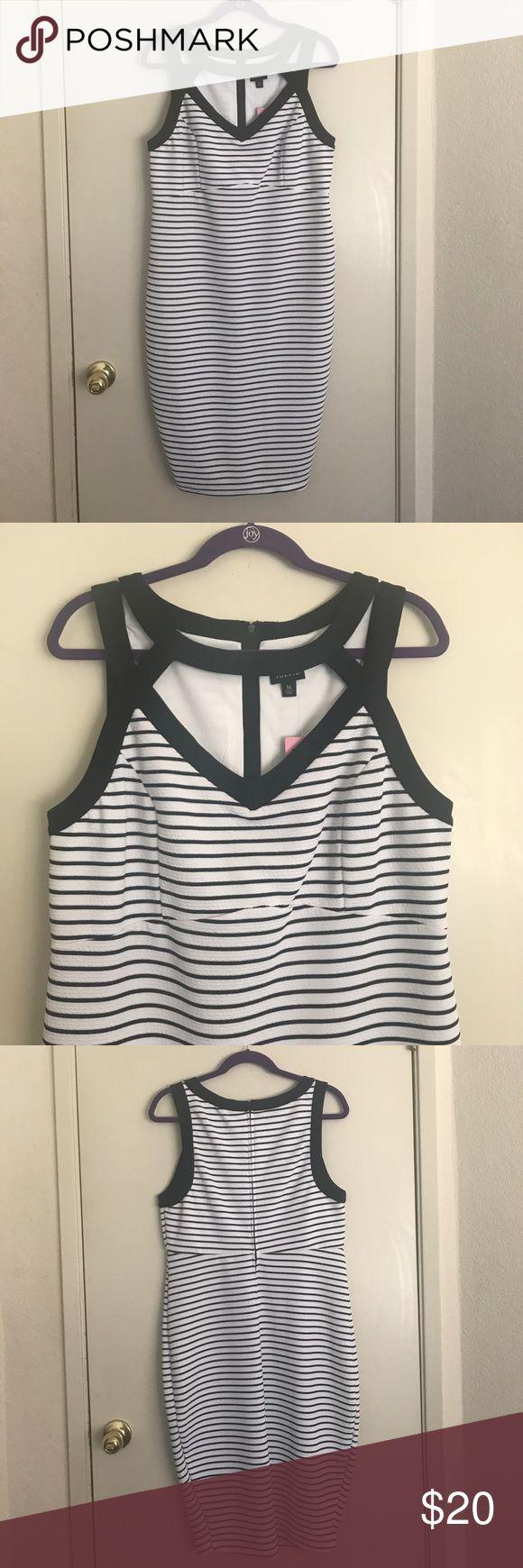 Black and White stripe Bodycon Dress Torrid Black and White Stripe Bodycon Midi Dress Size 14 NWT  Never been worn but tried on once :) torrid Dresses Midi