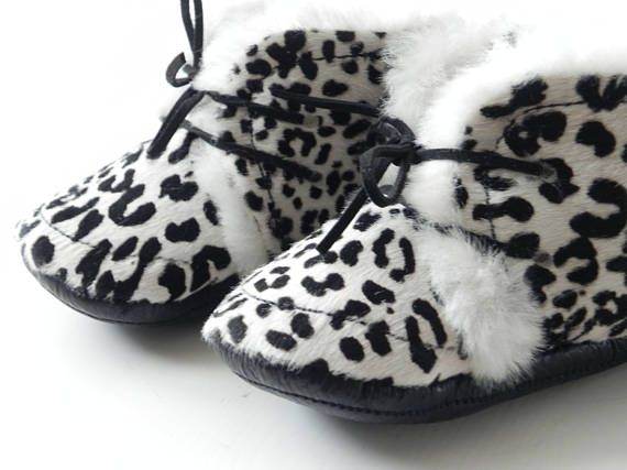 Labor Day SALE Faux Fur and Leather Baby Boots Genuine