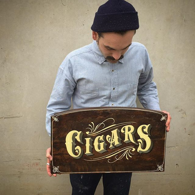 Cigar sign designed and painted by me up For Sale there is also a matching design on a old cigar box for sale too ( can send pics once you email )  tjguzzardi@gmail.com for enquires by tjguzzardi