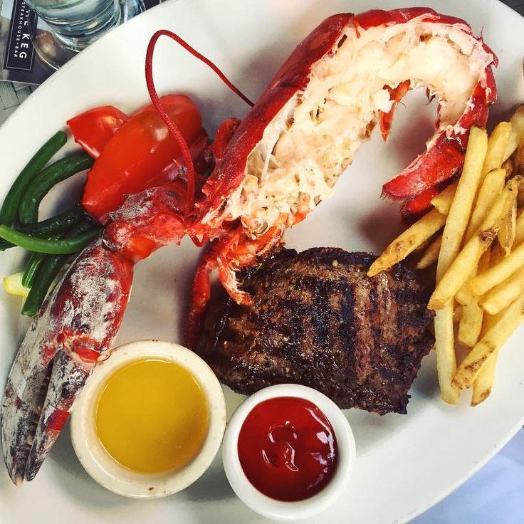Delicious surf and turf @thekegsteakhouse. Lobster and steak for summer sun.