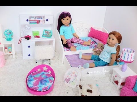American Girl Doll Trundle Bed & Bedding Set Bedroom - YouTube
