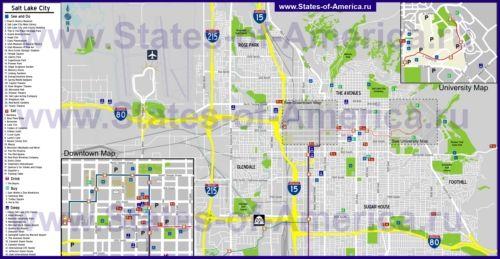 Туристическая карта Солт-Лейк-Сити с отелями, достопримечательностями, ресторанами и магазинами