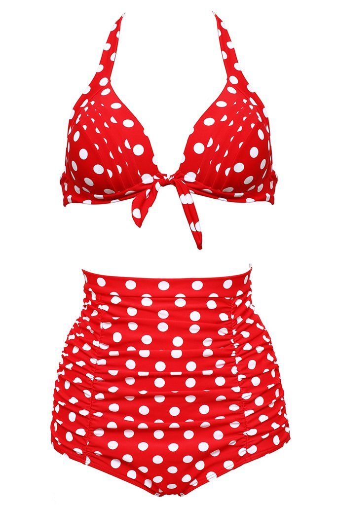 6760edeec5 Dotted Tie Front Ruched Push Up Full Cup Bra High Waist Bikini Set - Cobunny