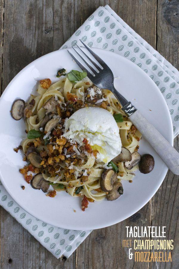 Tagliatelle met champignons en mozzarella txt