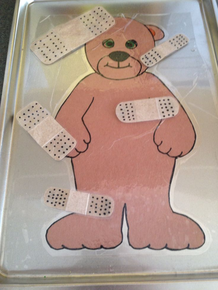 Independent fine motor activity for doctor unit. My kids love magnets so they loved taking care of Boo Boo Bear.