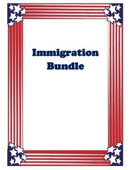 5 great #immigration #activities and a 10 question quiz.  Activities include- push and pull factors sheet, family immigration questionnaire, #Ellis Island virtual tour activity, custom officials dilemma, create a #passport and #quiz. #immigration #bundle