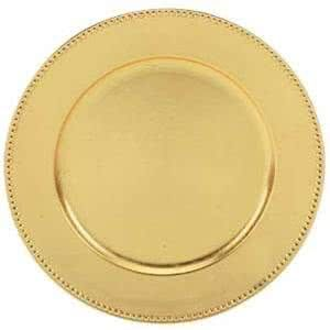 "Sophisticated and simple, this Tabletop Classics TRG-6655 13"" gold round charger plate features a classic contemporary style. The wide, plain rim design and ample diameter make this design quintessential for your decorative visions. Additionally, its lightweight and durable acrylic construction ensures longevity throughout repeated use, from one event to the next.<br><br> This charger plate's gold leaf finish is ideal for adding an upscale appearance to traditional table ..."