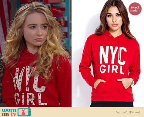 "Maya's studded red ""NYC Girl"" hoodie on Girl Meets World.  Outfit Details: http://wornontv.net/36049/ #GirlMeetsWorld"