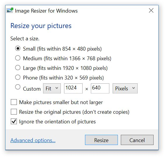 Lets you resize images by right-clicking.