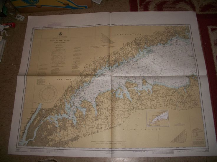 1983 Nautical Chart Map LONG ISLAND SOUND Western Part NY CN Dept. of Commerce
