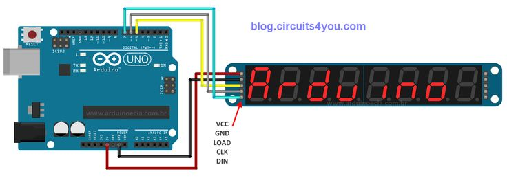 Arduino Connections with MAX7219 7-segment LED