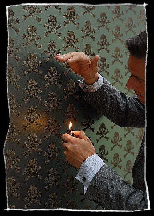Beware the Moon Skull wallpaper, bronze on oil slick