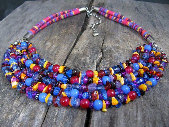 Colorful necklace  Multi strand necklace Multicolor