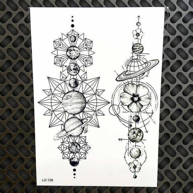 Black Diamond Geometry Owl Temporary Tattoo Sticker WOmen Fake Henna Waterproof …