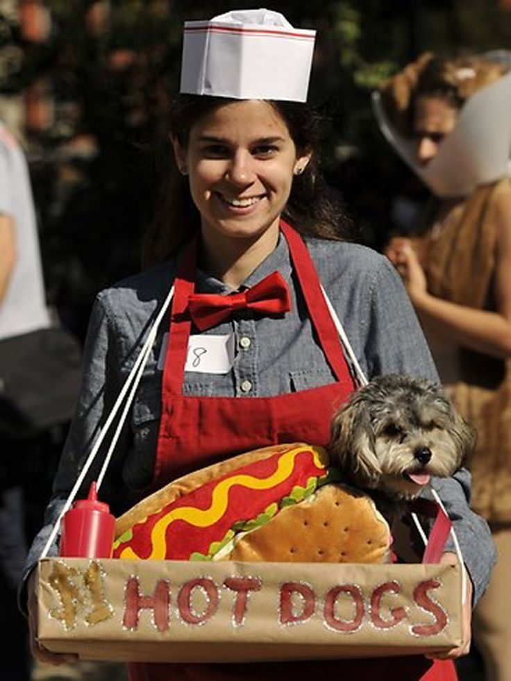 Halloween duo costumes. We have the hotdog costume to help get you started: http://www.callingalldogs.com/dog-costume-Hot-Dog.aspx