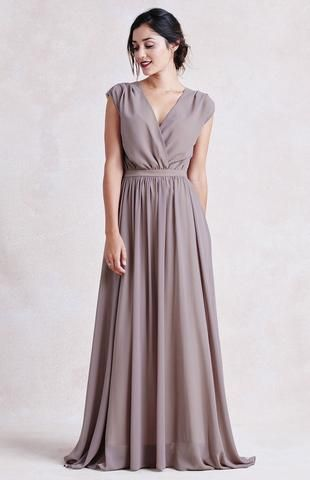 Lovely draping on this flattering bridesmaid dress - suitable for all body types and available in 11 different colors. | Jillian Dress | Paper Crown | Wedding Party Fashion | Bridesmaids Dresses | Bridal Party Style | Mix and Match