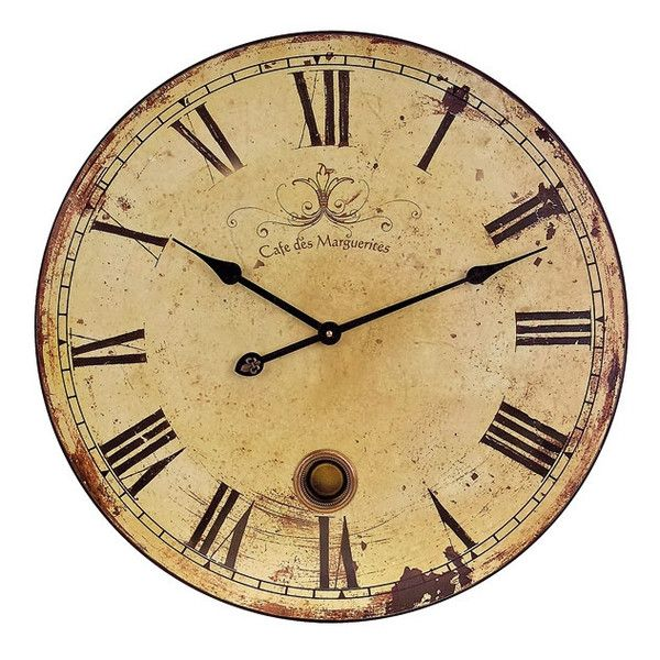 This distressed Cafe des Marguerites Wall Clock has a working pendulum to complete its antique French inspired look.  A beautiful time piece for any room, this distressed large clock will definitely make a statement.