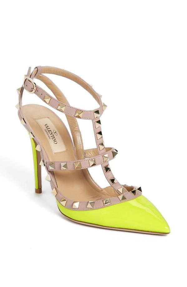 valentino 39 rockstud 39 t strap pump women pump neon yellow and valentino. Black Bedroom Furniture Sets. Home Design Ideas