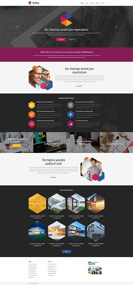 Template 54571 - Drafting Project  Responsive Website Template