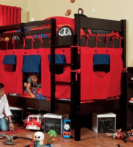 New kids red blue bunk bed tent canopy 3 pieces kid for Canopy boys