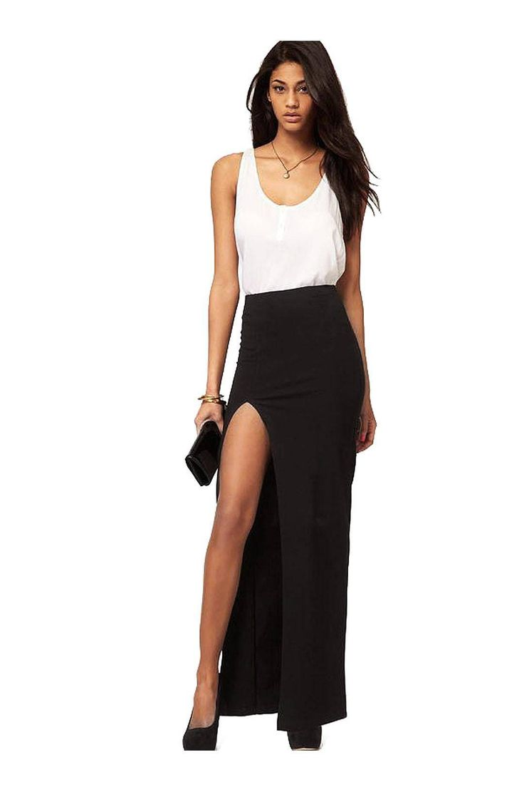 Maxi Skirt with Thigh Split - US$15.95