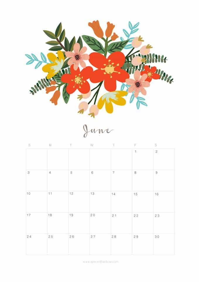Printable June 2018 Calendar Monthly Planner - Flower Design