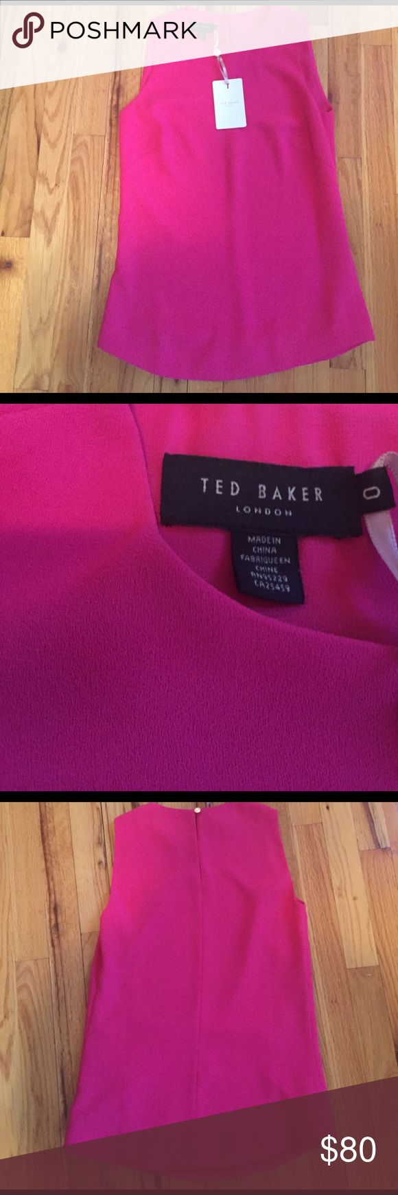 NWT Ted Baker London sleeveless Crepe Top blouse New with tags Ted Baker sleeveless crepe top blouse in the color 54-pink. Size 0 in Ted Baker but a US 2. It has a back button loop keyhole closure. 100% polyester shell and lining. Ted Baker London Tops Blouses