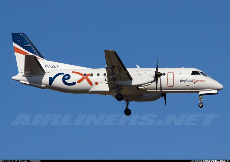 Saab 340B, REX Regional Express, VH-ZLF, cn 340B-374, 34 passengers, first flight 4.10.1995 (American Eagle), REX delivered 17.8.2007. 30.5.2016 flight Adelaide - Whyalla. Foto: Perth, Australia, 7.3.2016.