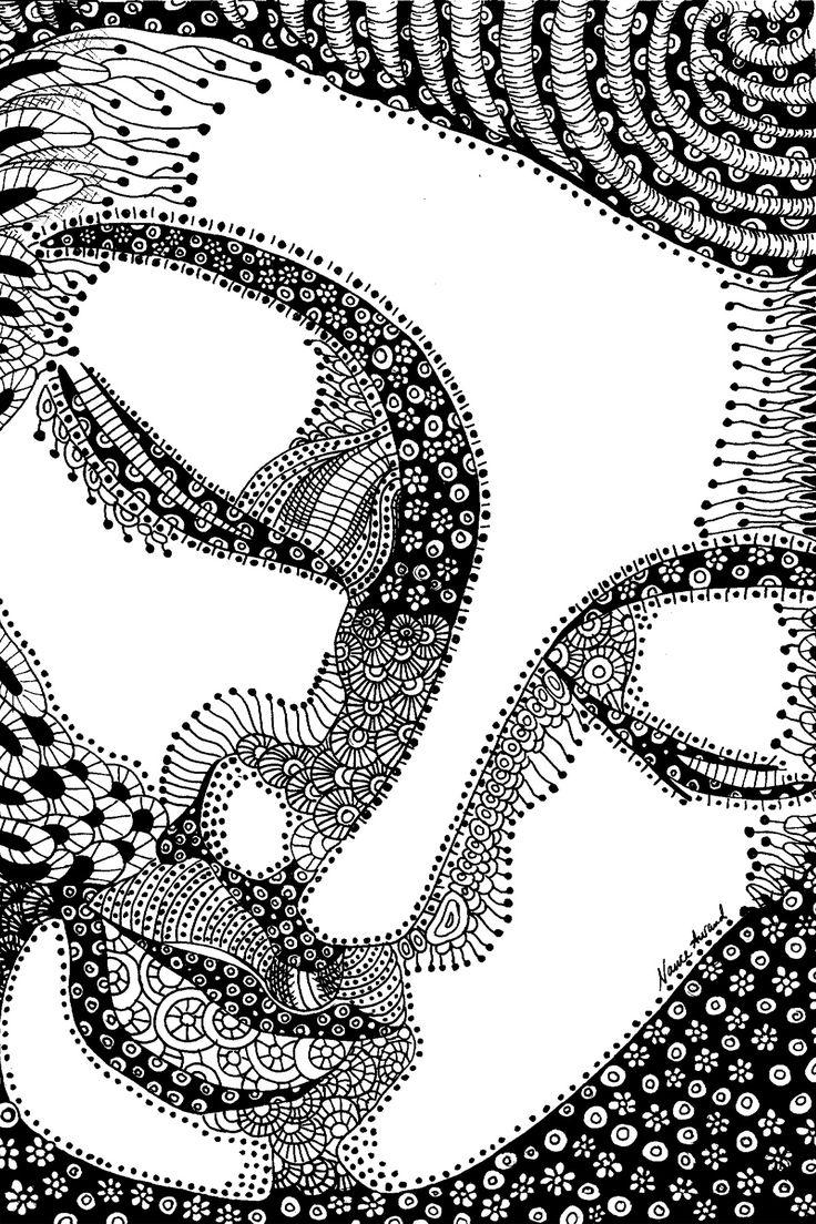 Buddha Zentangle ink drawing by Nance Aurand-Humpf