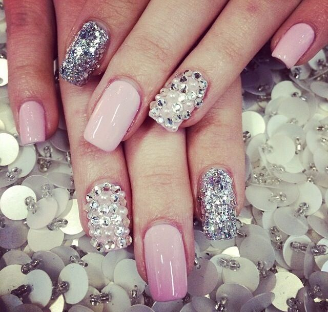 Silver Nail Designs For Prom: Light Pink Silver Glitter And Rhinestone Nails