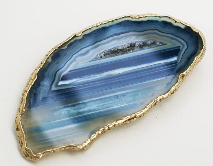 BLUE AGATE & DRUSY BROOCH with gold plated edge and back plate reinforced pin.  Unique handcrafted piece. Vintage 20+ years.