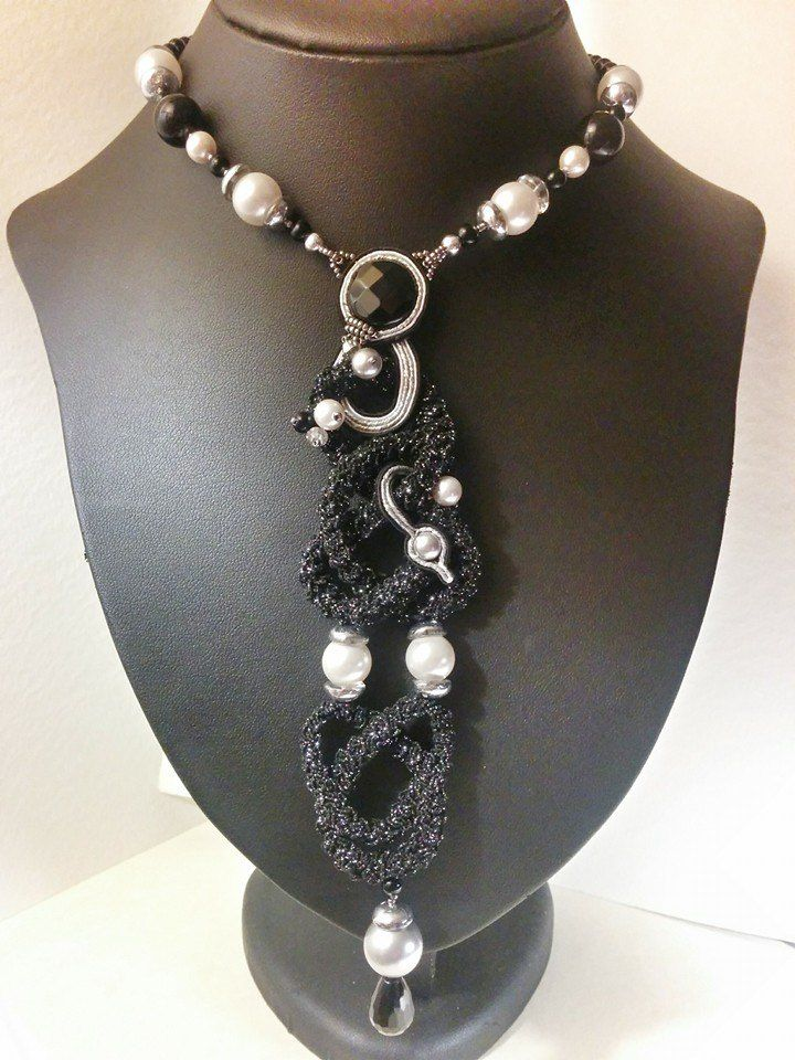 "Collier ""Precious Chains"" BLACK AND WHITE https://www.etsy.com/listing/223877378/collier-soutache-precious-chains-black?ref=shop_home_active_7"