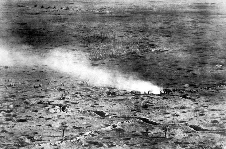 An aerial photographer captures an image of French soldiers attacking on the Somme front.