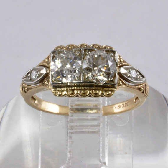 1940s Ring With Two Old European Cut Diamonds 995