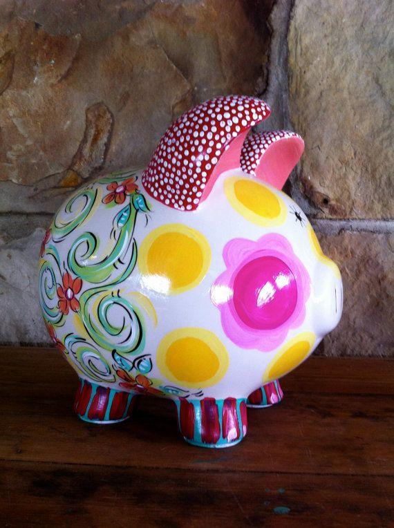 Piggy Bank  Ceramic  'FUNKY SWIRL DOT' design by DAKRIsinclair, $45.00